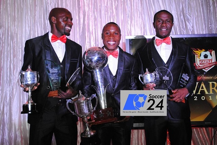 Hardlife Zvirekwi, Leonard Tsipa ,Petros Mhari after winning their awards