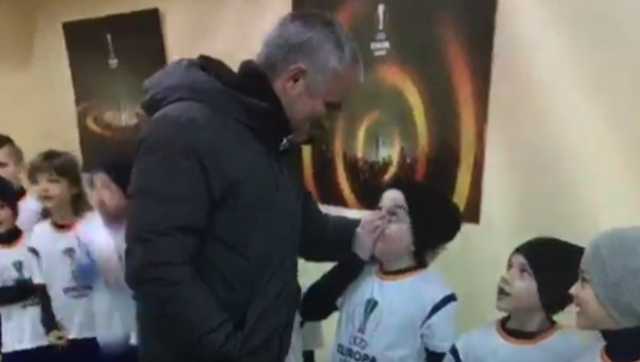VIDEO: Jose Mourinho Embraces Starstruck Ballboy Before Europa League Tie With Rostov