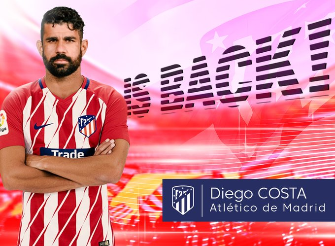 Diego Costa completes his move to Atletico Madrid