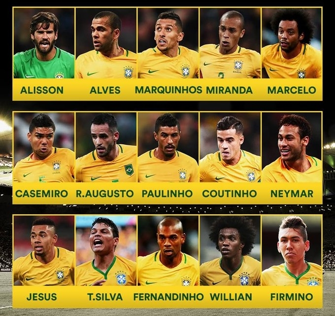 Brazil coach Tite names squad for World Cup