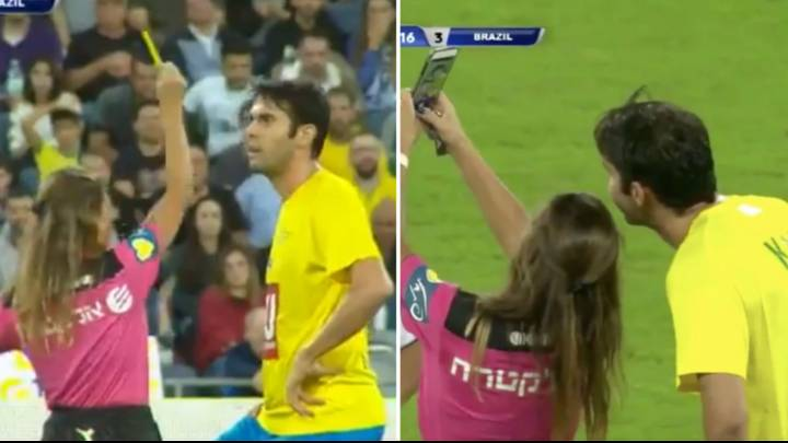 Video: Referee gives Kaka yellow card in an exhibition match just to get a selfie with him