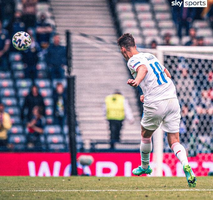 Watch: Patrik Schick's unreal goal for Czech Republic against Scotland