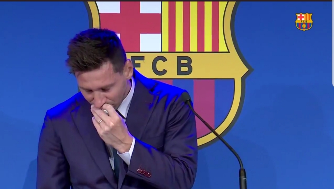 JUST IN: Emotional Messi breaks down to tears during farewell presser
