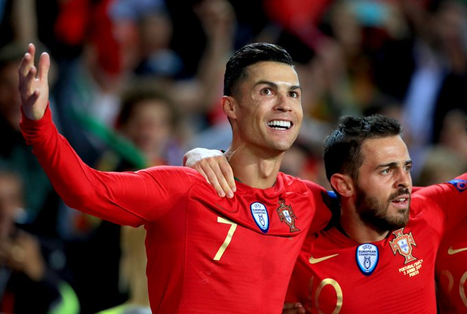 Ronaldo reacts after breaking another record in international football